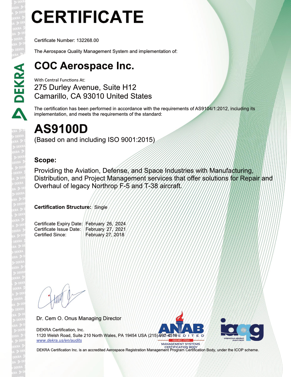 AS9100D Certification